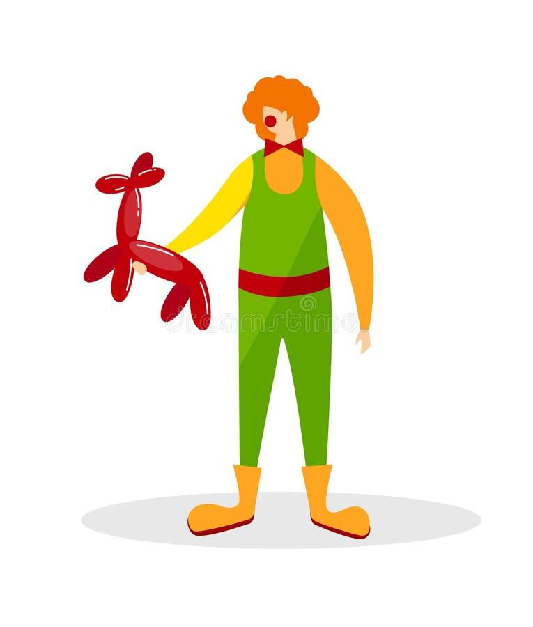 Trickzeichner-Wearing Funny Clown-Klage mit Hundeballon vektor abbildung