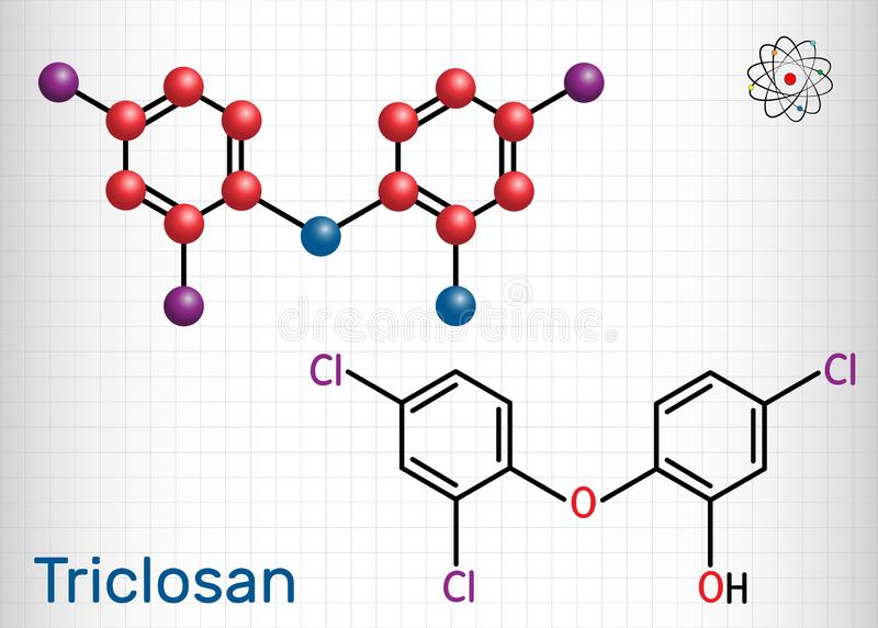 Triclosan molecule. It is a polychloro phenoxy phenol with antibacterial, antimicrobial, antifungal activity.  Sheet of paper in a. Cage. Structural chemical stock illustration