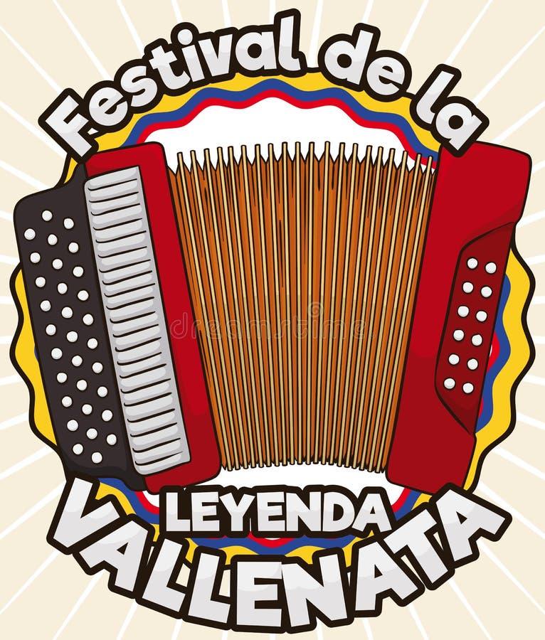 Tricolor Award Label with Accordion for Vallenato Legend Festival, Vector Illustration. Tricolor award ribbon like Colombian flag with accordion design to grant stock illustration