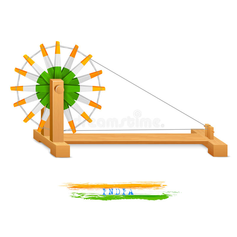 Tricolor Charkha (Spinnewiel) vector illustratie