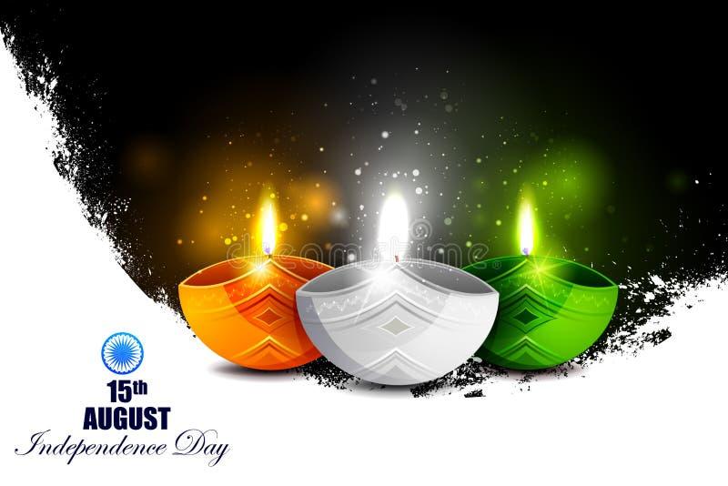 Tricolor Diya op Indische de vieringsachtergrond van de Onafhankelijkheidsdag stock illustratie