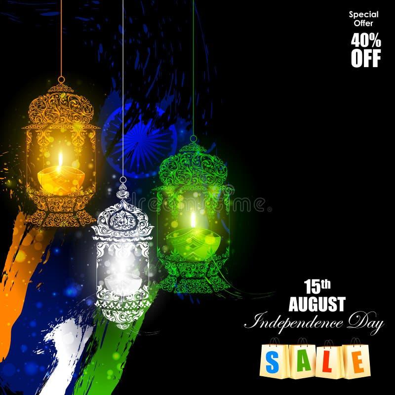 Tricolor Diya op Indische de vieringsachtergrond van de Onafhankelijkheidsdag vector illustratie