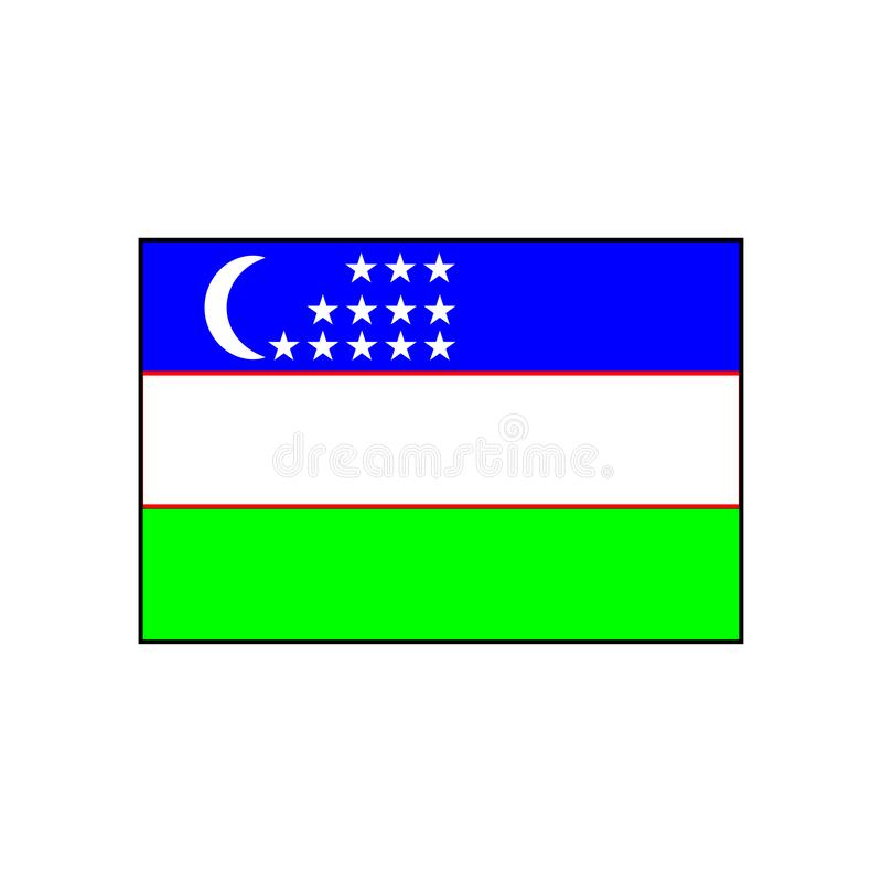 Tricolor flag of Uzbekistan sign. Eps ten stock illustration
