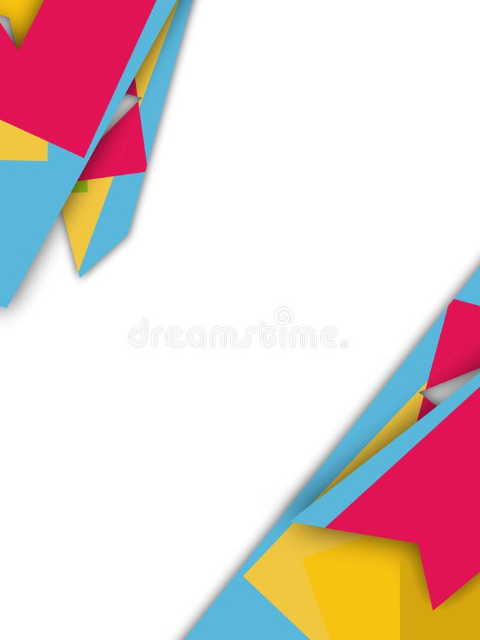 Tricolor geometry overlap abstract background. Vertical creative background stock illustration