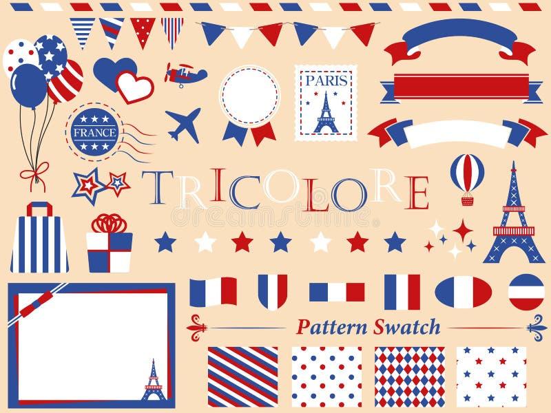 Tricolor france paris set 2. Tricolor set icon paris france royalty free illustration