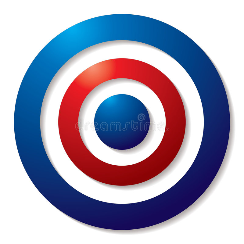 Tricolor target. In red white and blue with shadow effect vector illustration