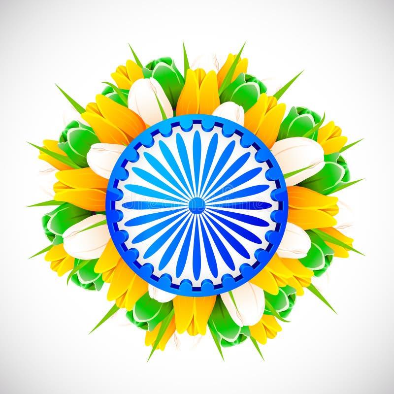Tricolor Tulip with Ashok Wheel vector illustration