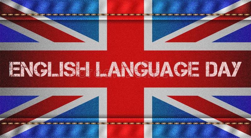 Tricolor van Engeland met jeanstextuur stock illustratie