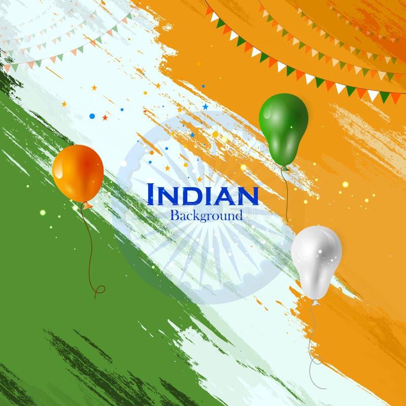 Tricolorballon die op Indische Achtergrond vliegen vector illustratie