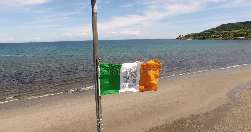 Tricolour irländsk nationsflagga flyga iväg havet i nordliga Carnlough - Irland royaltyfria bilder
