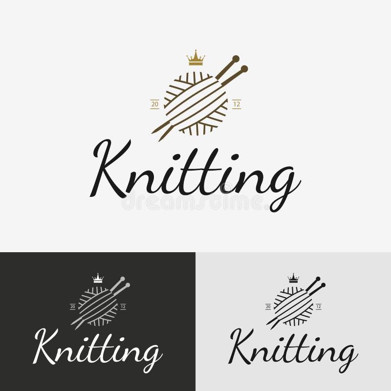 Tricote manualmente o logotipo, o crachá ou a etiqueta ilustração royalty free