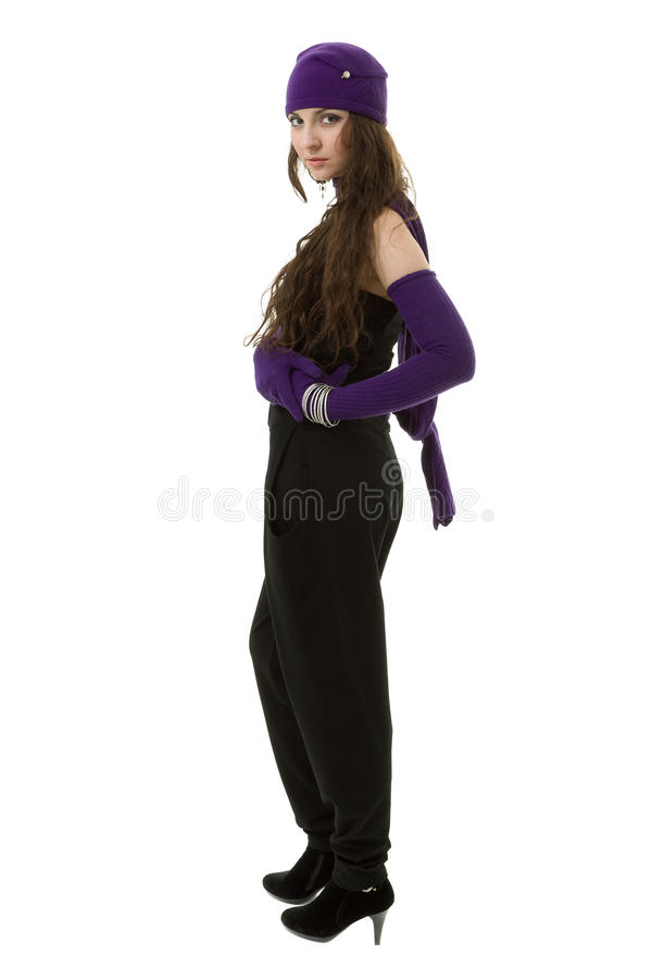 tricots Jeune femme utilisant un capuchon de l'hiver photo libre de droits