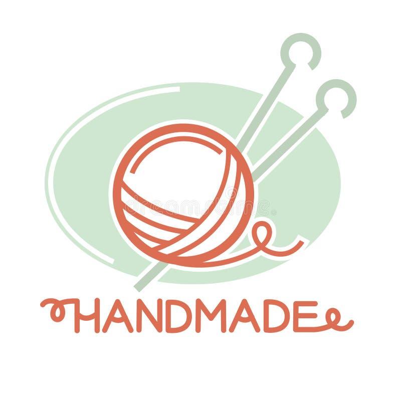 Tricottando la palla del filo con due aghi dentro il logo firmi illustrazione vettoriale