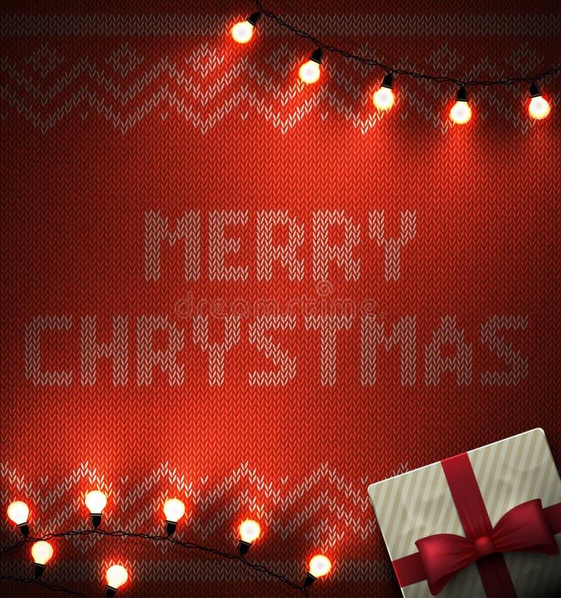 Tricotti il fondo con l'ornamento geometrico ed il Buon Natale manda un sms alle lampadine illuminate Luci di natale di vettore C illustrazione di stock