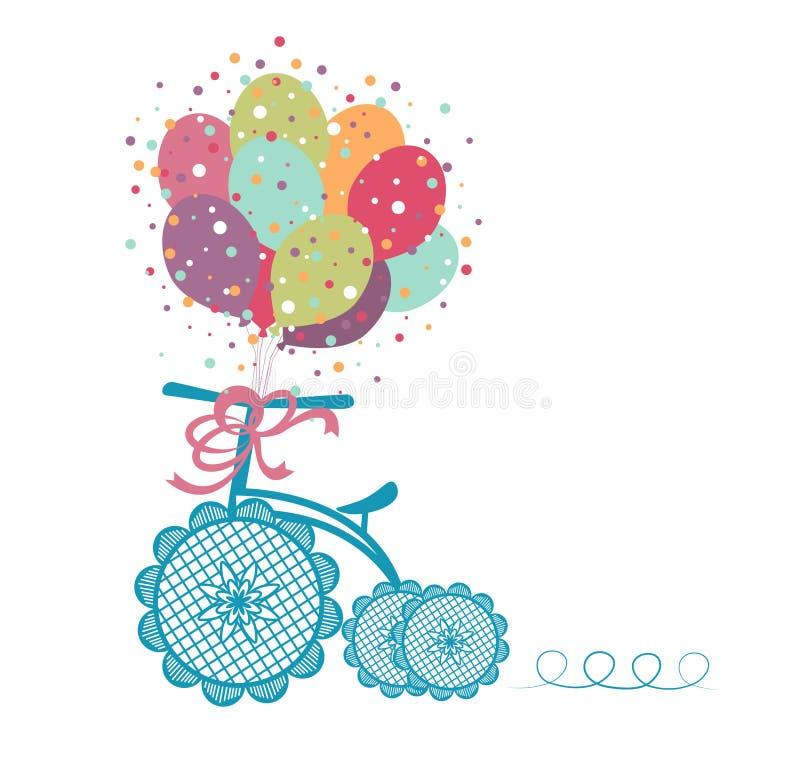 Tricycle avec des ballons illustration de vecteur