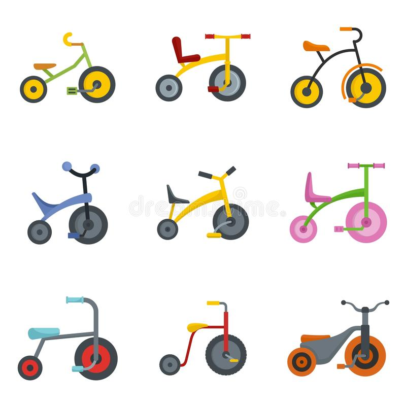 Tricycle bicycle bike wheel icons set, flat style royalty free illustration