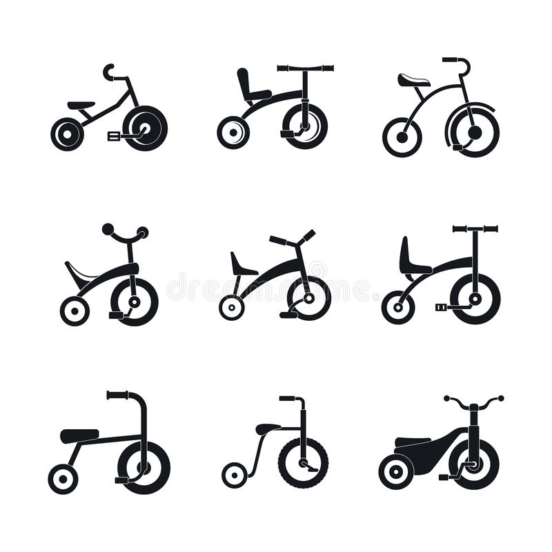 Tricycle bicycle bike wheel icons set, simple style vector illustration
