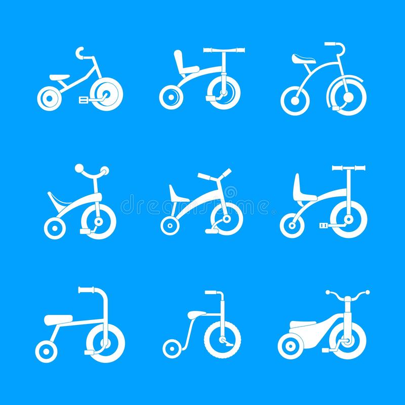 Tricycle bicycle bike wheel icons set, simple style royalty free illustration