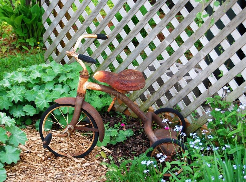Tricycle dans le jardin image libre de droits