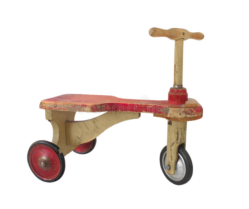 Tricycle de pousser-scooter de childâs de cru d'isolement images libres de droits