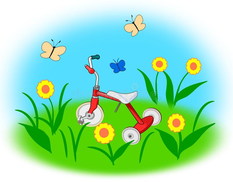 Tricycle in the Garden vector illustration