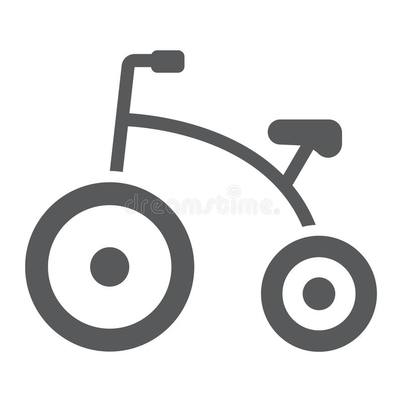 Tricycle glyph icon, bicycle and child, bike sign, vector graphics, a solid pattern on a white background. stock illustration