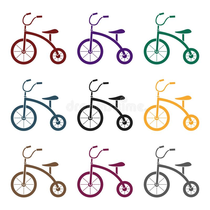 Tricycle icon in black style isolated on white background. Play garden symbol stock vector illustration. royalty free illustration