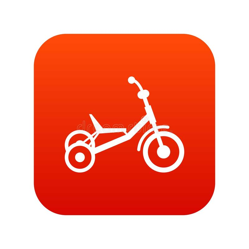 Tricycle icon digital red stock illustration
