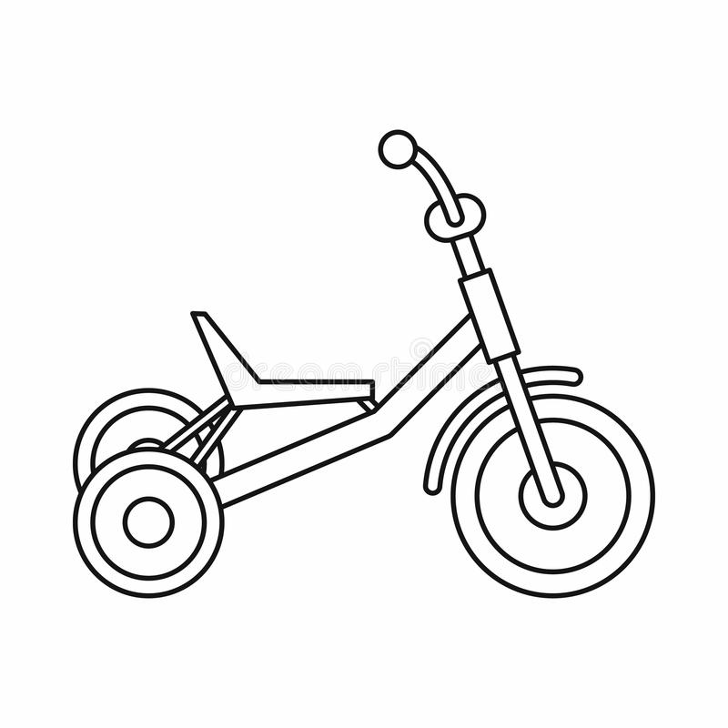 Tricycle icon, outline style stock illustration