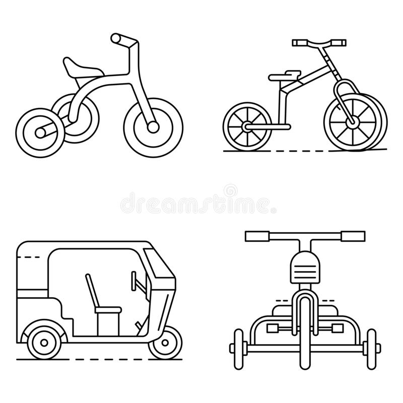 Tricycle icon set, outline style royalty free illustration