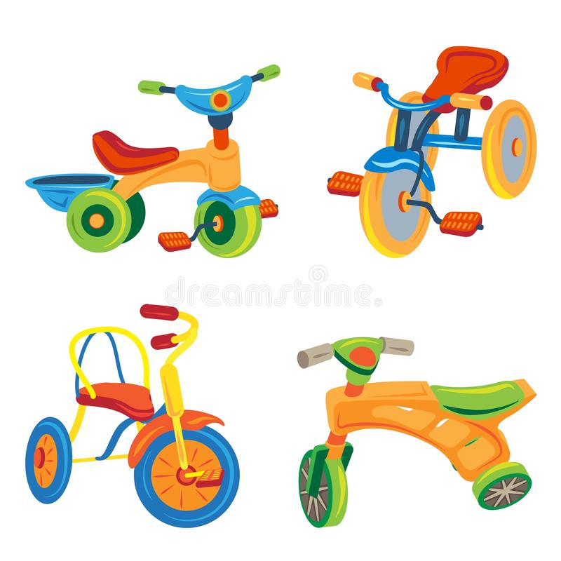 Tricycle icons set, cartoon style vector illustration