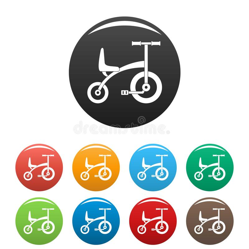 Tricycle icons set color stock illustration