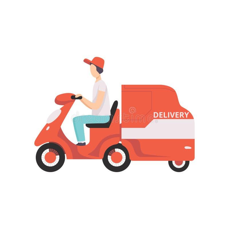 Tricycle rouge de la livraison avec le messager, illustration de vecteur de concept de la livraison express sur un fond blanc illustration stock