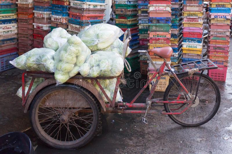 Tricycle transport at the market in Mae Sot, Thailand on the Burmese border stock images