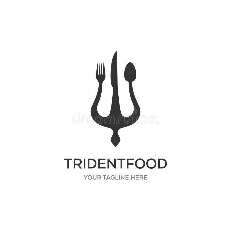 Trident, colher, forquilha nos projetos do logotipo ilustração do vetor