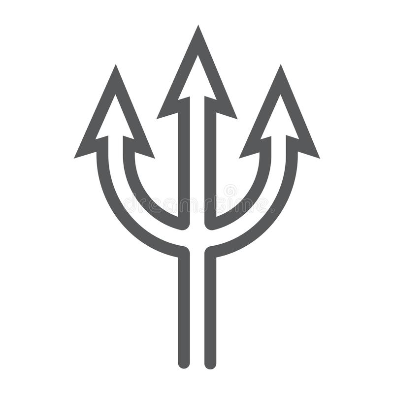 Trident line icon, spear and devil, pitchfork sign, vector graphics, a linear pattern on a white background. stock illustration