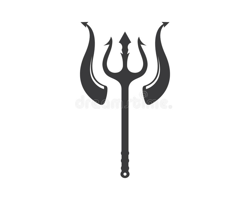 Trident und Horn Logo Template-Vektorikonenillustration lizenzfreie abbildung