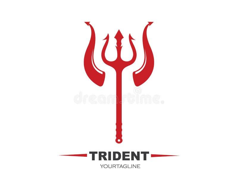 Trident und Horn Logo Template-Vektorikonenillustration stock abbildung