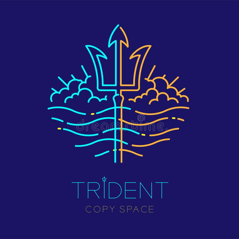 Trident, wave and cloud, logo icon outline stroke set dash line design illustration. Isolated on dark blue background with trident text and copy space stock illustration