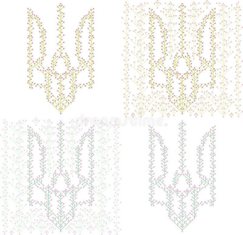 Tridente ucraino dagli ornamenti floreali royalty illustrazione gratis