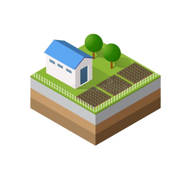 Tridimensional isométrico da exploração agrícola ilustração royalty free