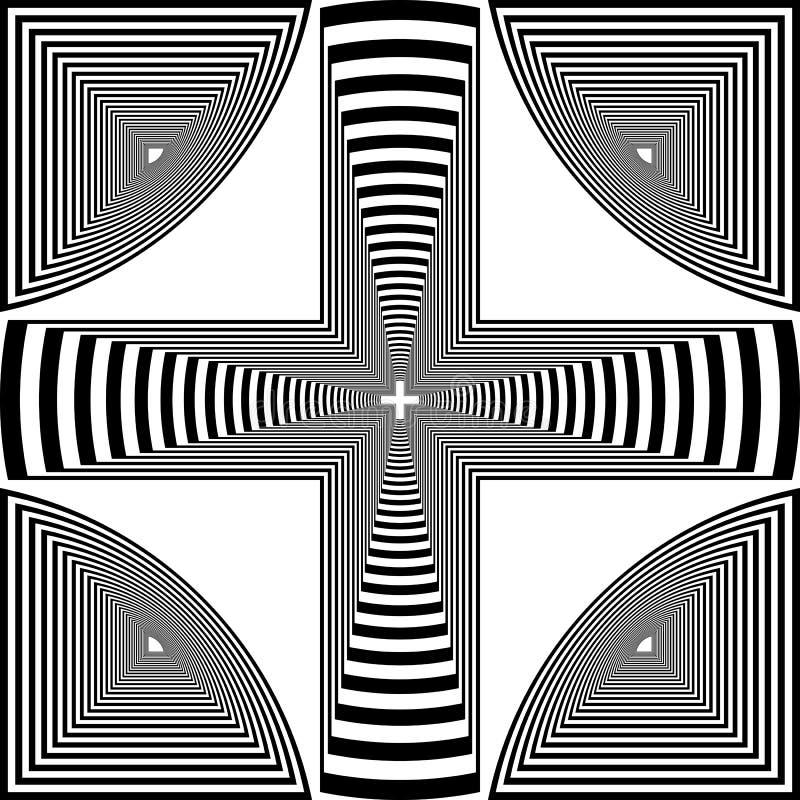 Tridimensionalkruis van het Arabesquedoel zoals torenexoskeleton de abstracte illustratie van het besnoeiingsart deco stock illustratie