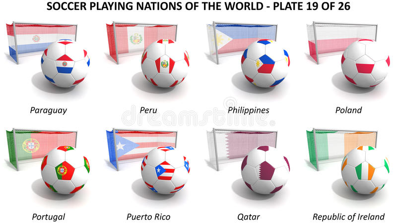 Le football jouant des nations du monde illustration de vecteur