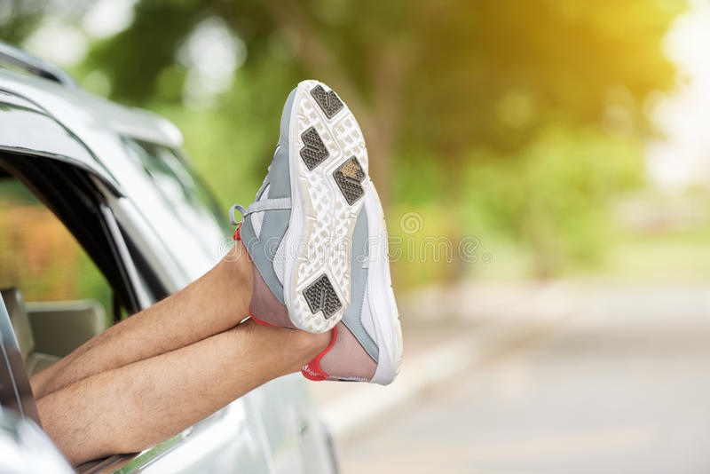 Tried Tourist on Road Trip stock image