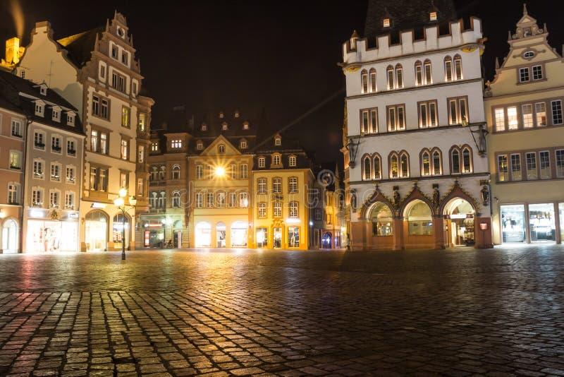 Trier germany hauptmarkt at night. The trier germany hauptmarkt at night royalty free stock photography
