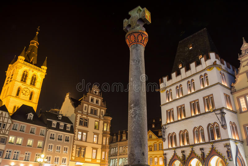 Trier germany hauptmarkt at night. The trier germany hauptmarkt at night stock image