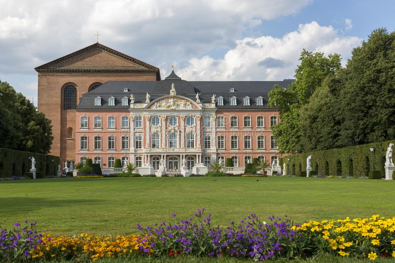 Palace garden in front of the Prince-elector Palace in the center of Trier. Trier, Germany - July 06, 2018: Palace garden in front of the Prince-elector Palace stock image