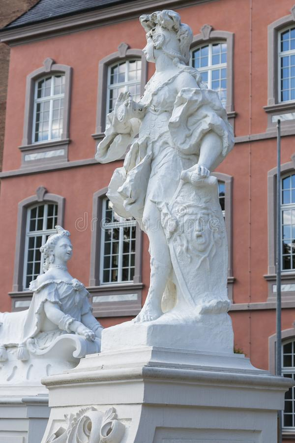 Sculptures in front of the Prince-elector Palace in the center of Trier stock photography