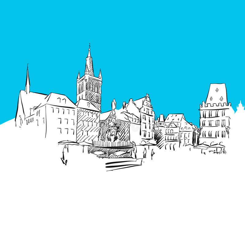 Trier Main Market. Hand-drawn vector drawing, blue series royalty free illustration