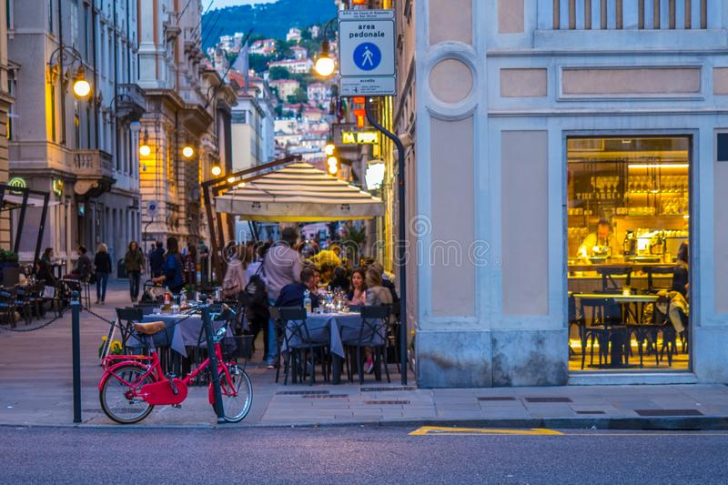 Triest night life royalty free stock images